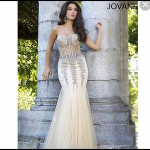 NUDE JOVANI GOWN